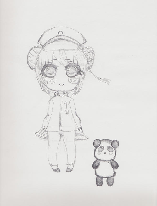 Fem!China Chibi + Panda by animequeenfreak