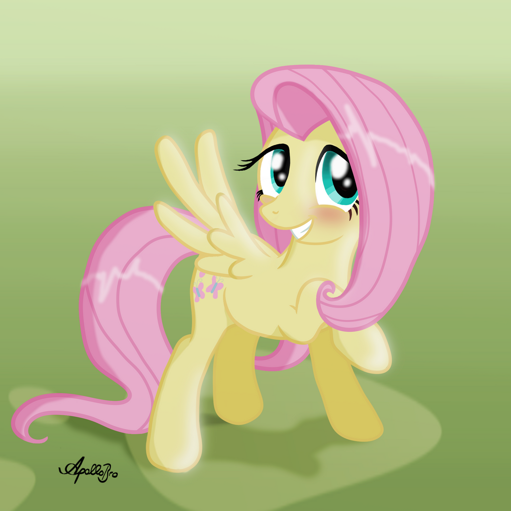 Fluttershy -Oh, my... You flatterer!- by ApolloBroDA
