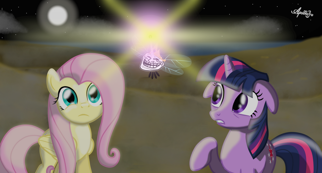 Twilight and Fluttershy -Le wild creature appears- by ApolloBroDA