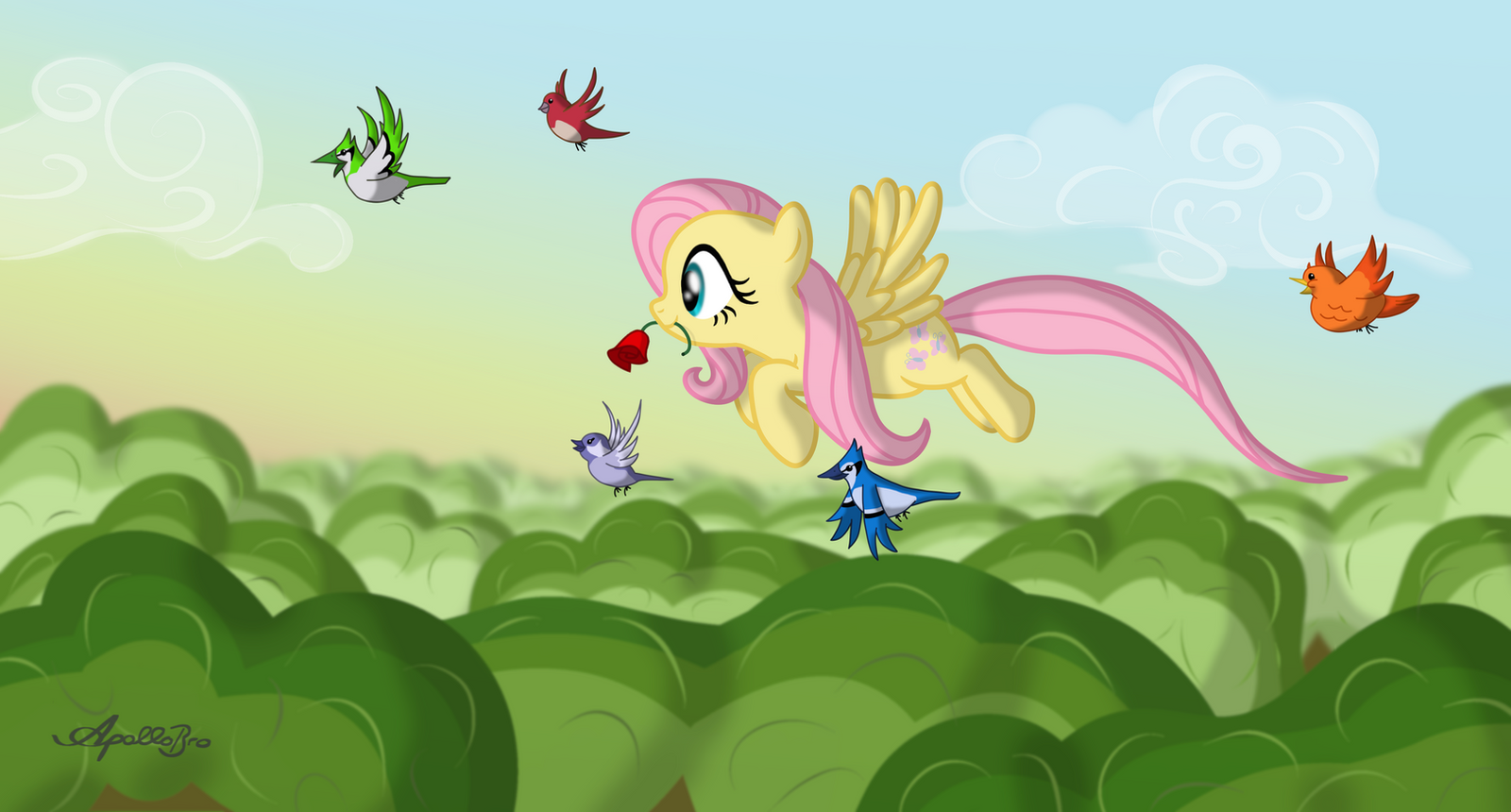 Fluttershy loves roses by ApolloBroDA