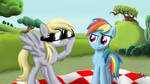 Derpy and Rainbow Dash -Give me my shades back!-