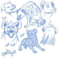 Spotted Hyena Sketches by AddictionHalfWay
