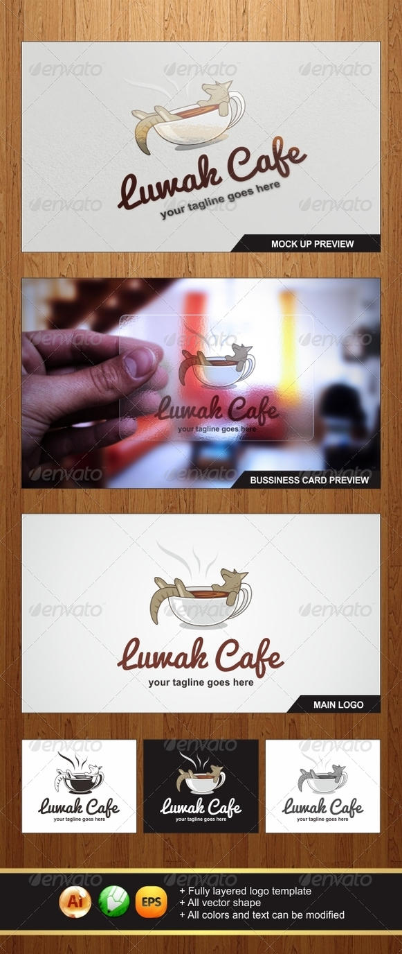 Luwak Cafe Logo Template - Graphicriver by Changyik