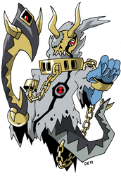 Commish: DarkKnightmon + Bakemon = TyrFright