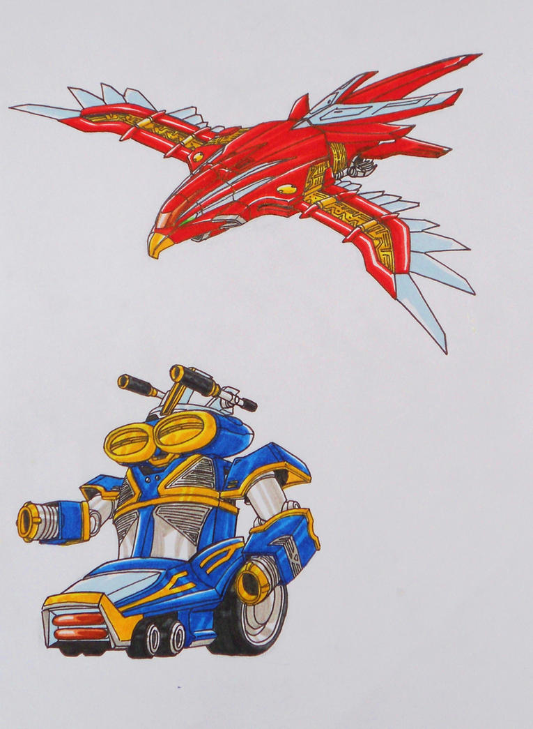ZEO MEGAZORD REVISITED: red and yellow by kishiaku