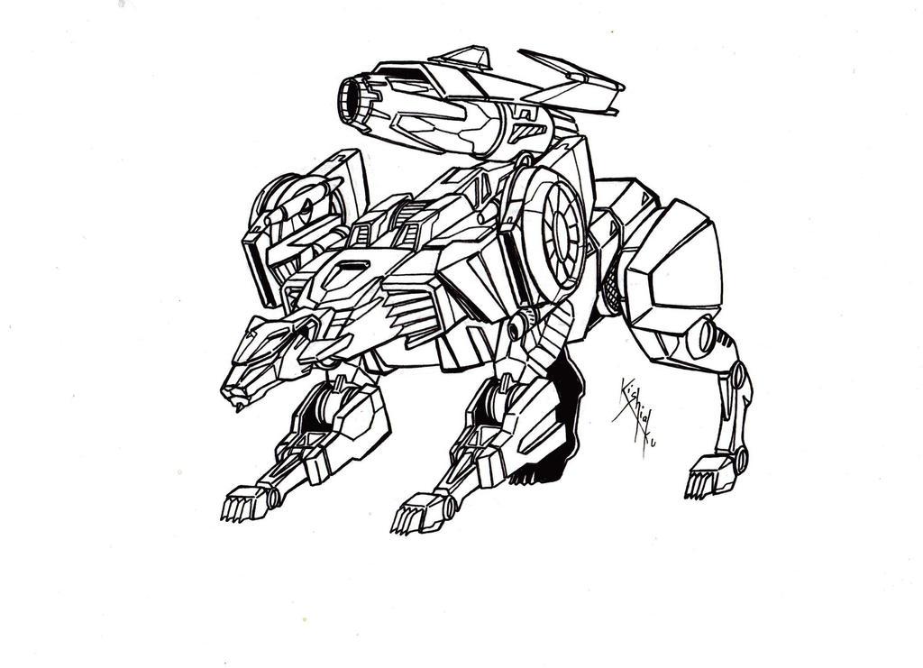 Line Drawing Jaguar : Megatron jaguar mode lineart from tfcyb by kishiaku on