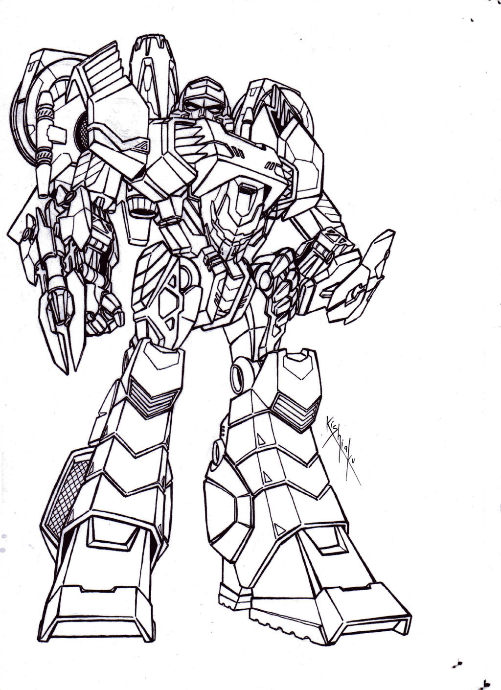 Line Drawing Robot : Megatron robot mode lineart from tfcyb by kishiaku on