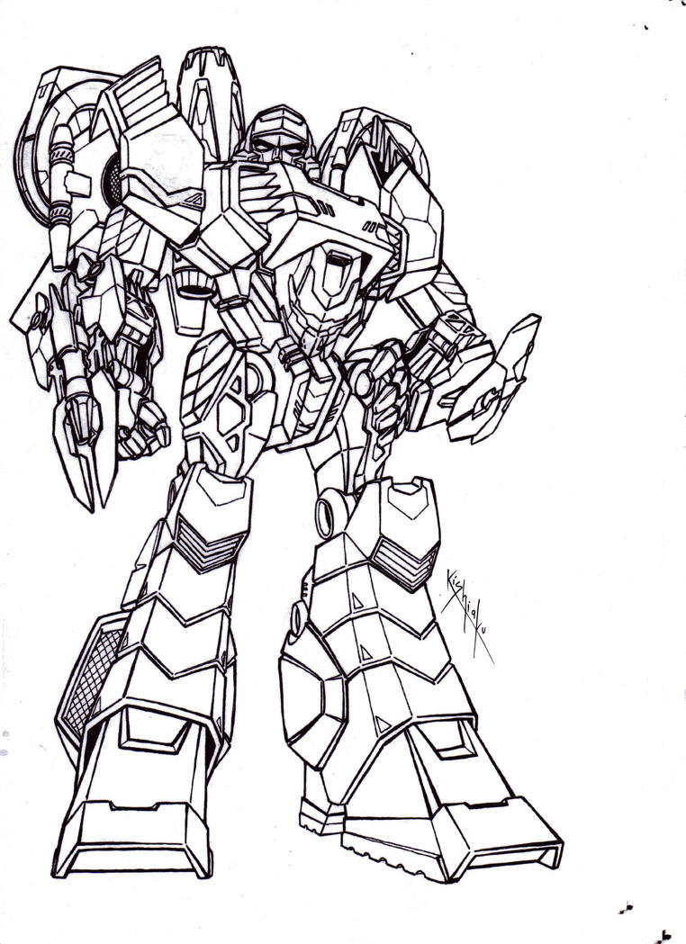 Line Art Robot : Megatron robot mode lineart from tfcyb by kishiaku on