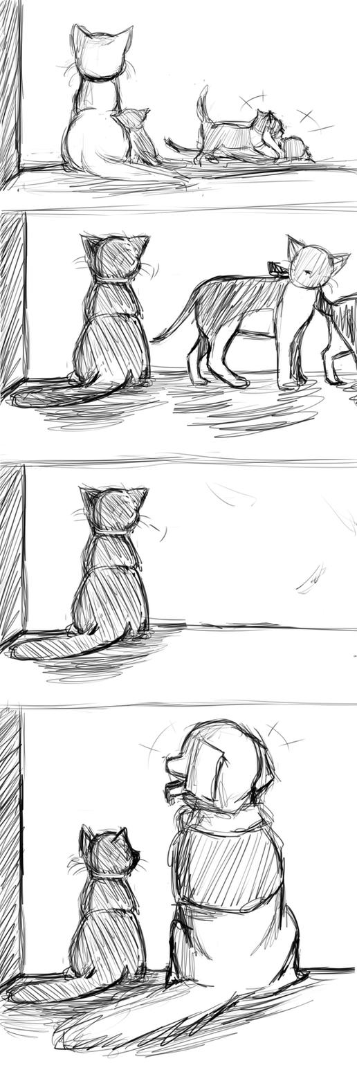 The Cat in the Toilet - Kitty's Life Sketch by earthfairys