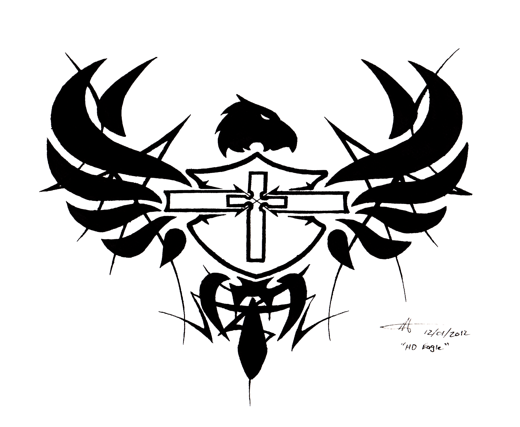 Tattoo design - HD Shield, Cross, and Eagle by WaruiJaNai ...