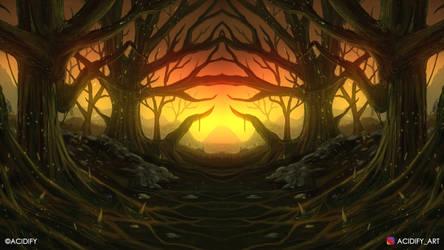Sunset Valley (2D Environment Concept Art)