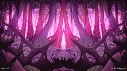 Pink Forest (2D Fantasy Landscape Concept Art)