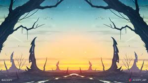 Falling Stars (2D Landscape Symmetry Concept Art)
