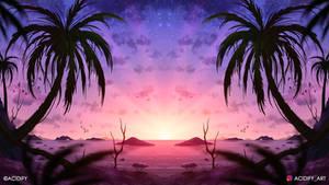 Starry (2D Tropics Landscape Symmetry Concept Art)