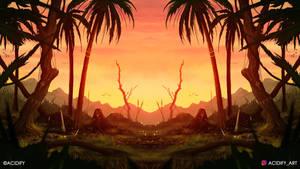 Sundown (2D Landscape / Symmetry Concept Art)
