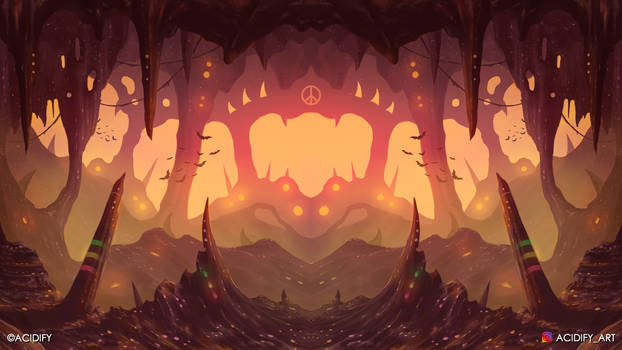 Dugout (2D Fantasy Cave Landscape / Symmetry Art)