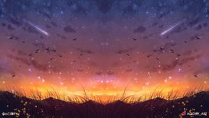 Golden (Sunset Landscape / Symmetry Concept Art)