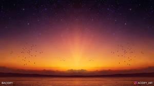 Nightfall (Ocean Landscape / Symmetry Concept Art)
