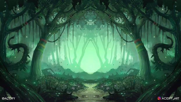 Fireflies (Fantasy Forest / Symmetry Concept Art)
