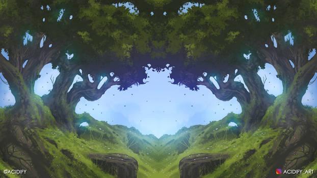Hillside (Tree Landscape / Symmetry Concept Art)