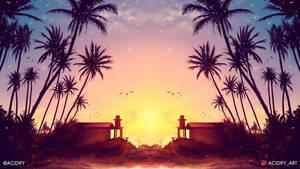 Cabin (Tropical Sunset Landscape / Concept Art)