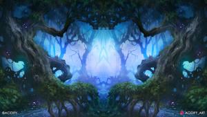 Reincarnate (Fantasy Forest Symmetry Concept Art)