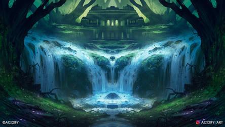 Falls (Fantasy Forest Symmetry Concept Art)