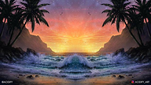Seaside (Tropics Landscape Symmetry Concept Art)