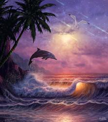 Reflection (Seascape / Dolphin Concept Art)