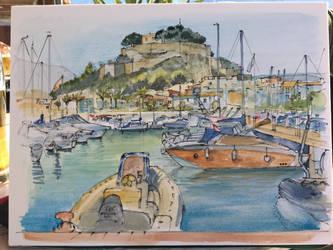 Denia marina and castle