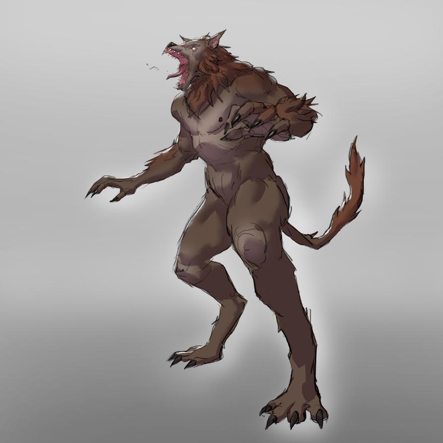 Werewolf Sketch by jordyskateboardy