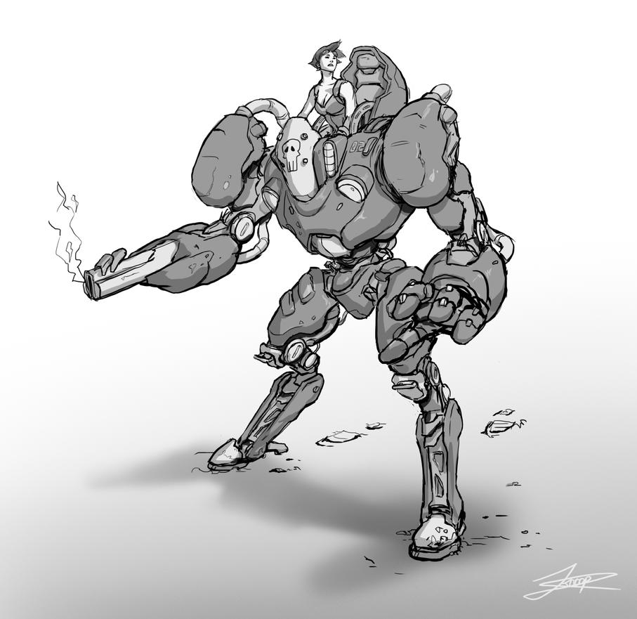 Evening mech sketch by jordyskateboardy