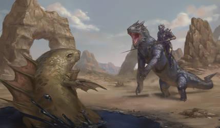 Poxnora fantasy illustration: Charger vs Tar Shark
