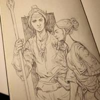 Elves in the sketchbook by Jordy-Knoop