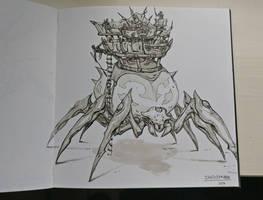 Inktober Day 10: Gigantic spider by Jordy-Knoop