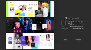 3 HEADERS PORTADAS TWITTER FACEBOOK PSD TEMPLATES