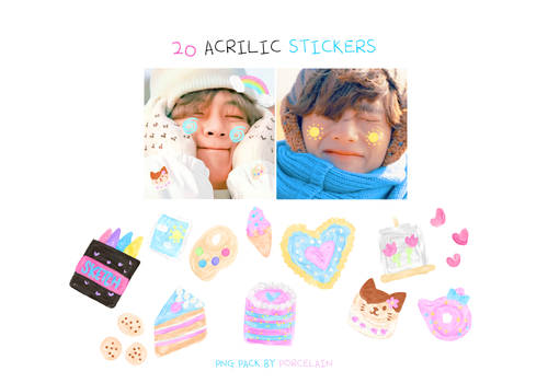 STICKER PACK CUTE ACRYLIC PNG BY PORCELAIN