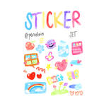 STICKER PACK CUTE ACRYLIC 02 PNG BY PORCELAIN