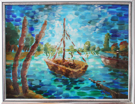 Impressionist Painting - Boat on the lake