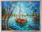 Impressionist Painting - Boat on the lake by Xhario