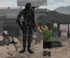 Child gives teddy bear to war machine by EvanNayfa