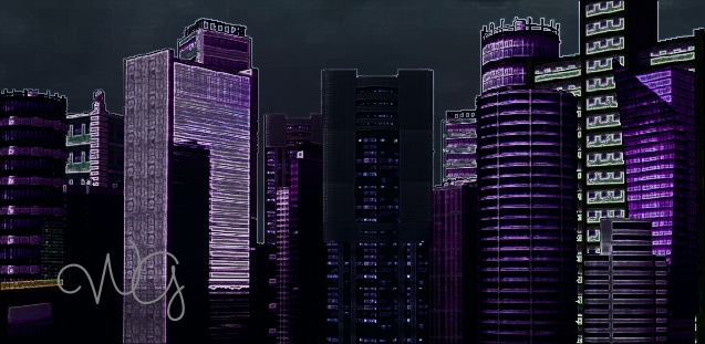 Cityscape: Neon Lights by AlbertWeskerG