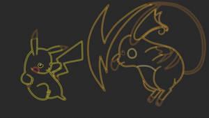 Pikachu Vs Raichu Lineart Neon Wallpaper