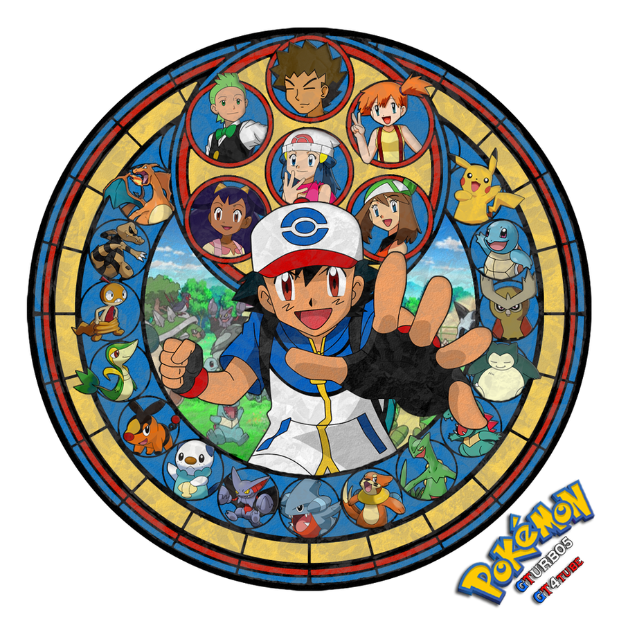 Pokemon Ash Ketchum - Stained Glass 2013 by GT4tube