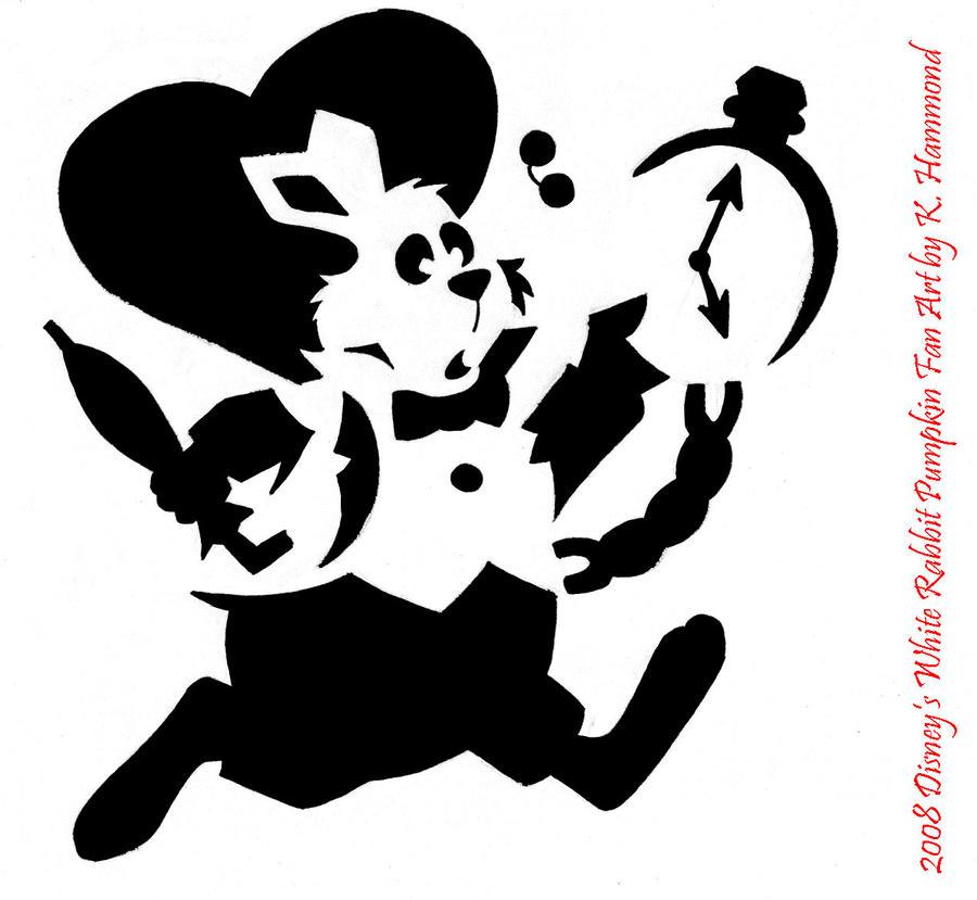 White Rabbit Pumpkin Pattern Alice In Wonderland Rabbit Stencil