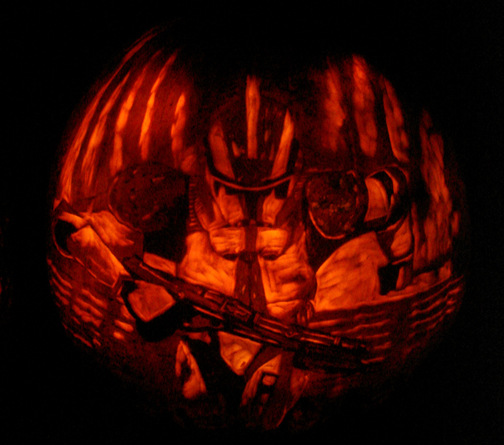 Clone Trooper Pumpkin by rjclrutter