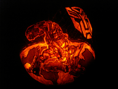 Optimus Prime Pumpkin by rjclrutter