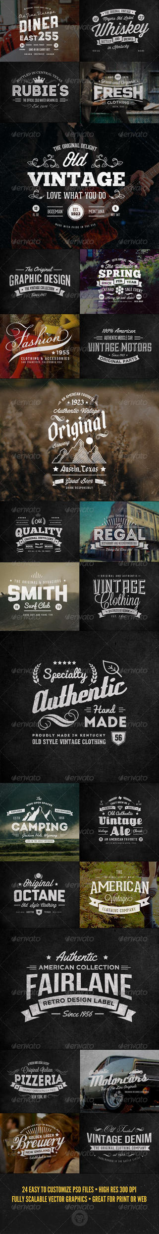 24 Vintage Labels and Logos Bundle by themagpac