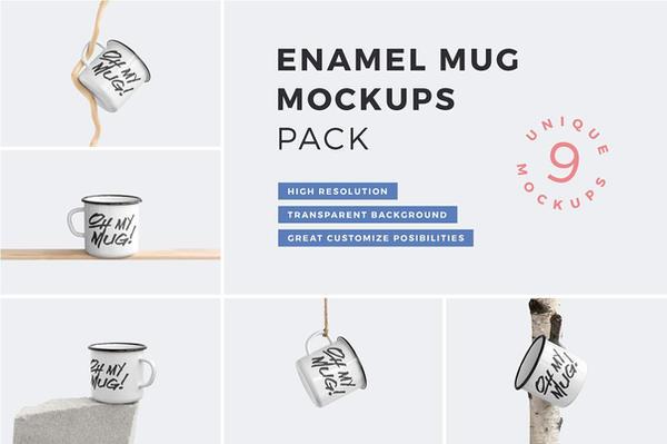 Enamel Mug Mockups Pack by themagpac