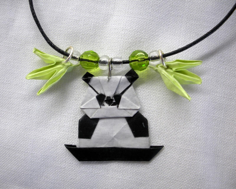 origami panda charm necklace by squeejie on deviantart
